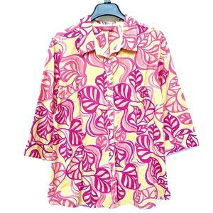 Pappagallo Women's Button-Up Shirt Yellow Pink